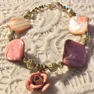 Pink Mother of Pearl bracelet w/ Rose Charm